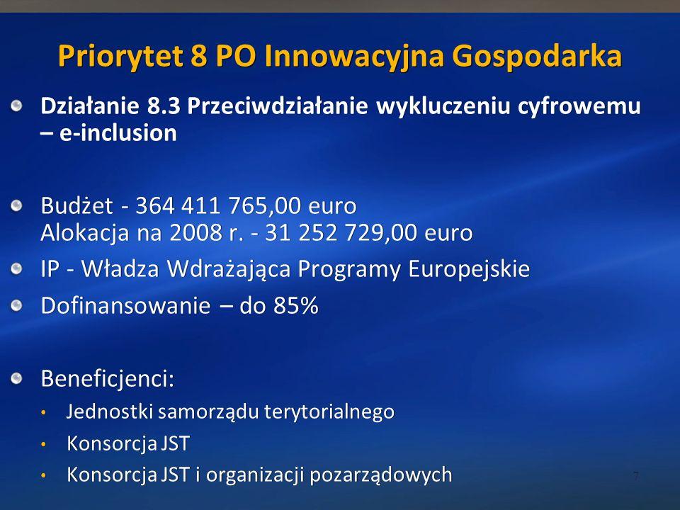 Priorytet 8 PO Innowacyjna Gospodarka