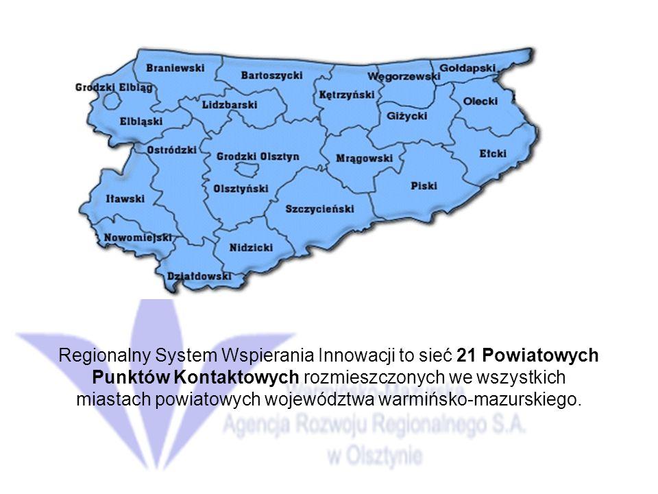 Regionalny System Wspierania Innowacji to sieć 21 Powiatowych Punktów Kontaktowych rozmieszczonych we wszystkich miastach powiatowych województwa warmińsko-mazurskiego.