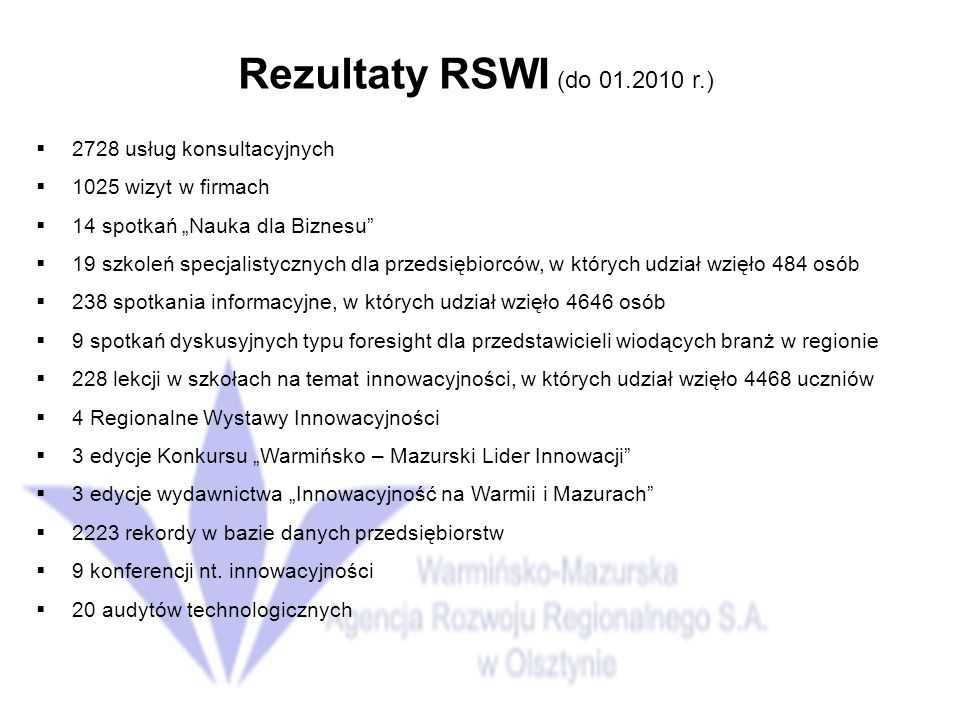 Rezultaty RSWI (do 01.2010 r.) 2728 usług konsultacyjnych