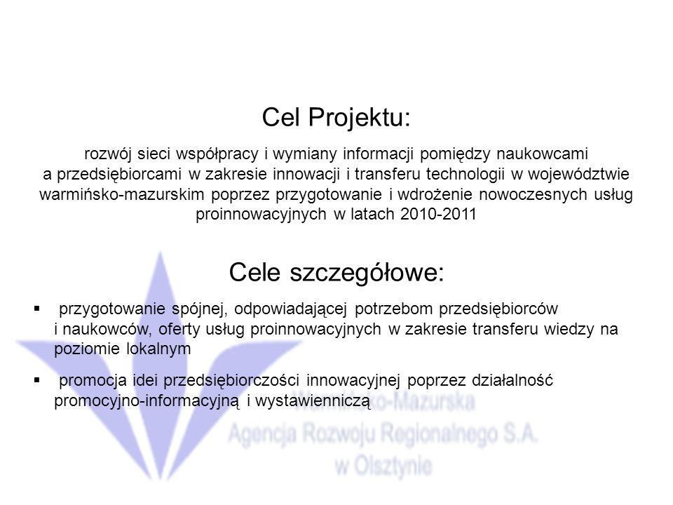 Cel Projektu: rozwój sieci współpracy i wymiany informacji pomiędzy naukowcami a przedsiębiorcami w zakresie innowacji i transferu technologii w województwie warmińsko-mazurskim poprzez przygotowanie i wdrożenie nowoczesnych usług proinnowacyjnych w latach 2010-2011