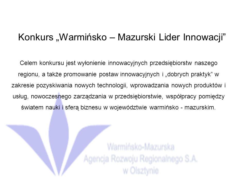 """Konkurs """"Warmińsko – Mazurski Lider Innowacji"""
