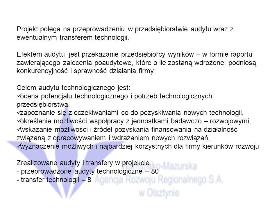 Projekt polega na przeprowadzeniu w przedsiębiorstwie audytu wraz z ewentualnym transferem technologii.
