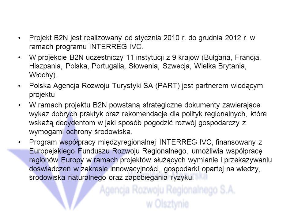 Projekt B2N jest realizowany od stycznia 2010 r. do grudnia 2012 r