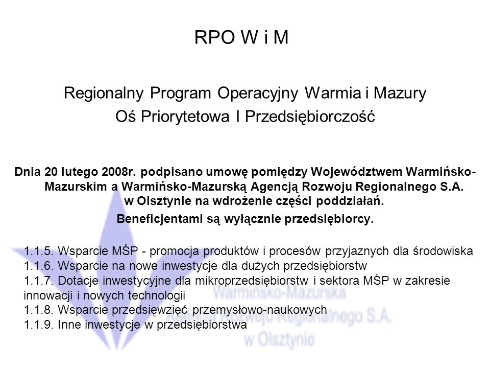 RPO W i M Regionalny Program Operacyjny Warmia i Mazury