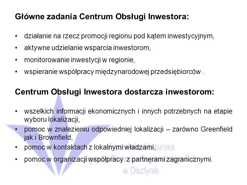 Główne zadania Centrum Obsługi Inwestora: