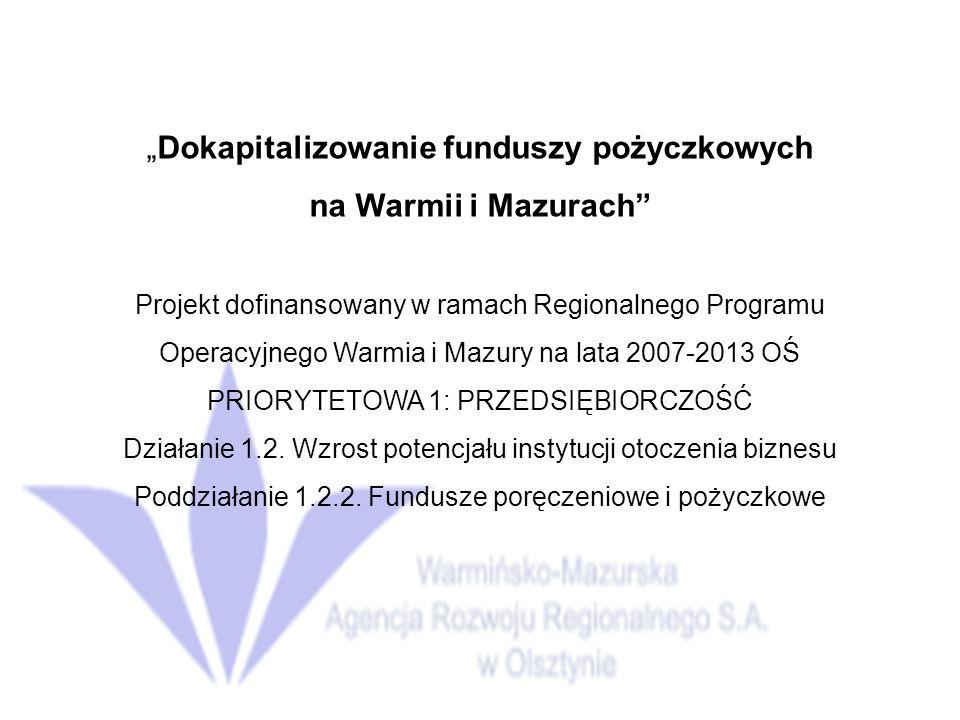 """""""Dokapitalizowanie funduszy pożyczkowych"""
