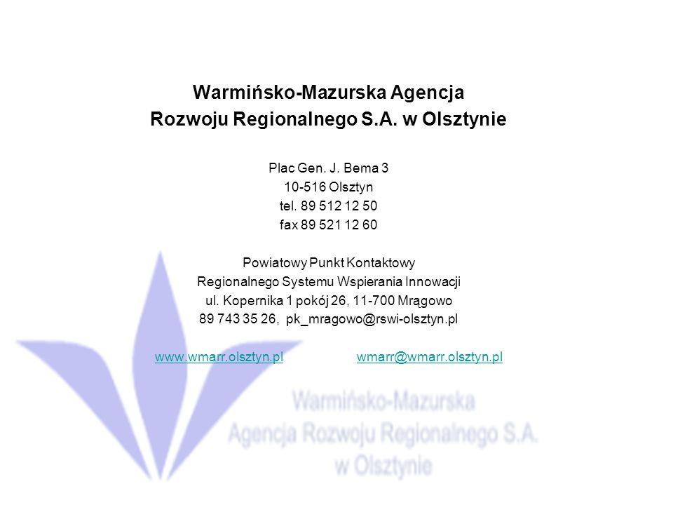 Warmińsko-Mazurska Agencja Rozwoju Regionalnego S.A. w Olsztynie