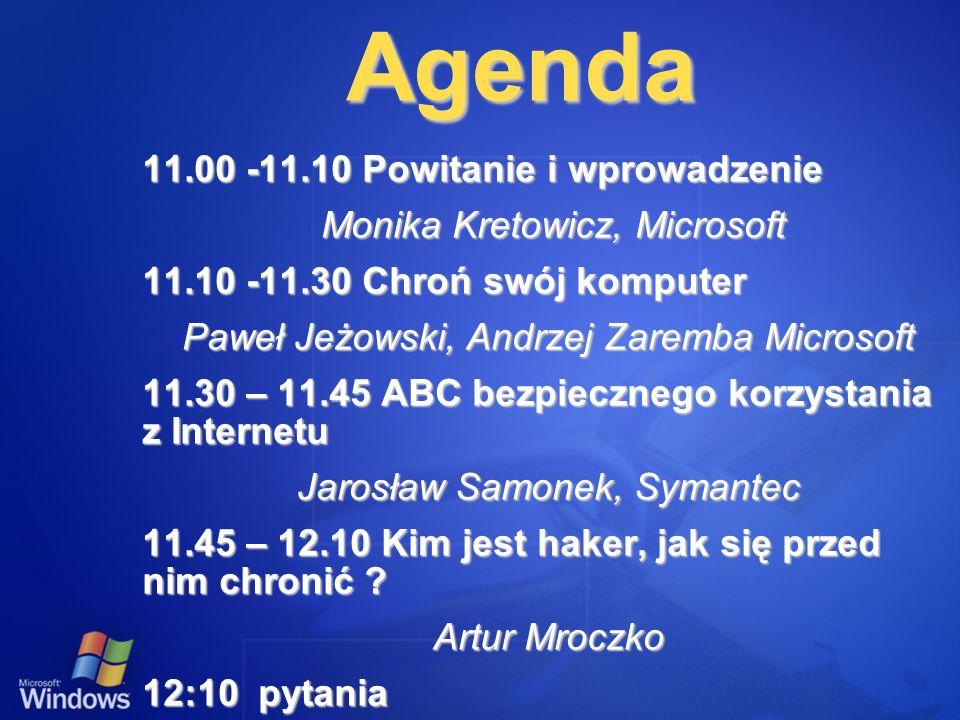 Agenda 11.00 -11.10 Powitanie i wprowadzenie