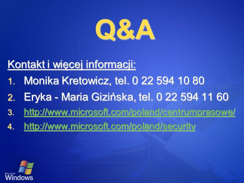 Q&A Kontakt i więcej informacji: Monika Kretowicz, tel. 0 22 594 10 80