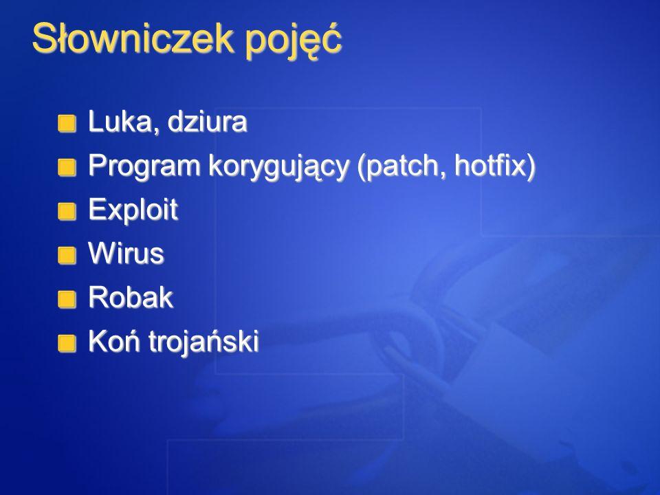 Słowniczek pojęć Luka, dziura Program korygujący (patch, hotfix)
