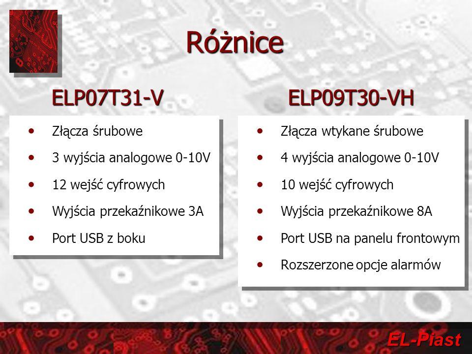 Różnice ELP07T31-V ELP09T30-VH Złącza śrubowe