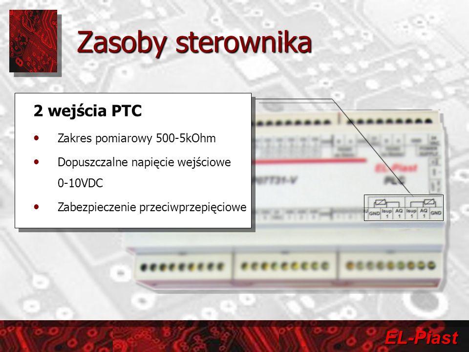 Zasoby sterownika 2 wejścia PTC Zakres pomiarowy 500-5kOhm