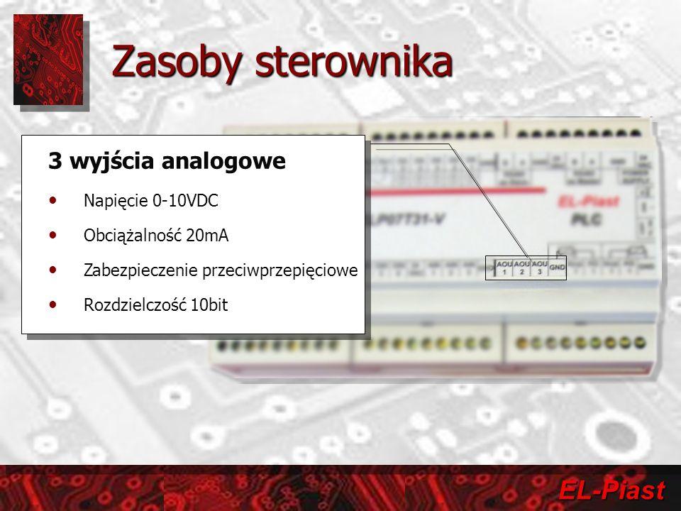 Zasoby sterownika 3 wyjścia analogowe Napięcie 0-10VDC