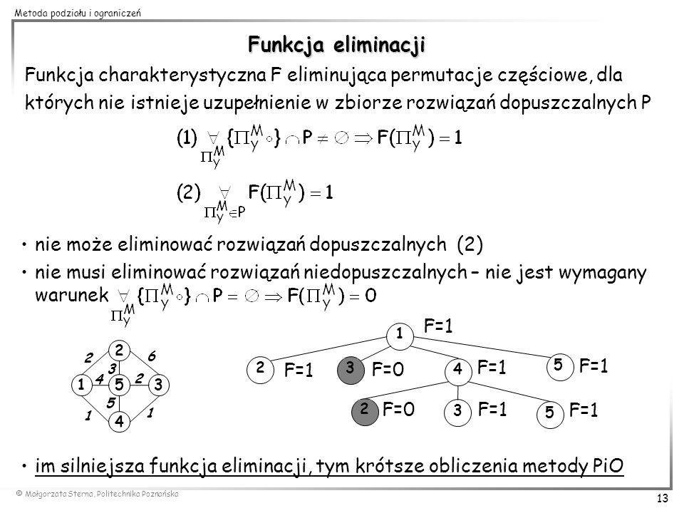 Funkcja eliminacji Funkcja charakterystyczna F eliminująca permutacje częściowe, dla.