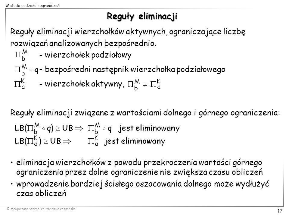 Reguły eliminacji Reguły eliminacji wierzchołków aktywnych, ograniczające liczbę. rozwiązań analizowanych bezpośrednio.
