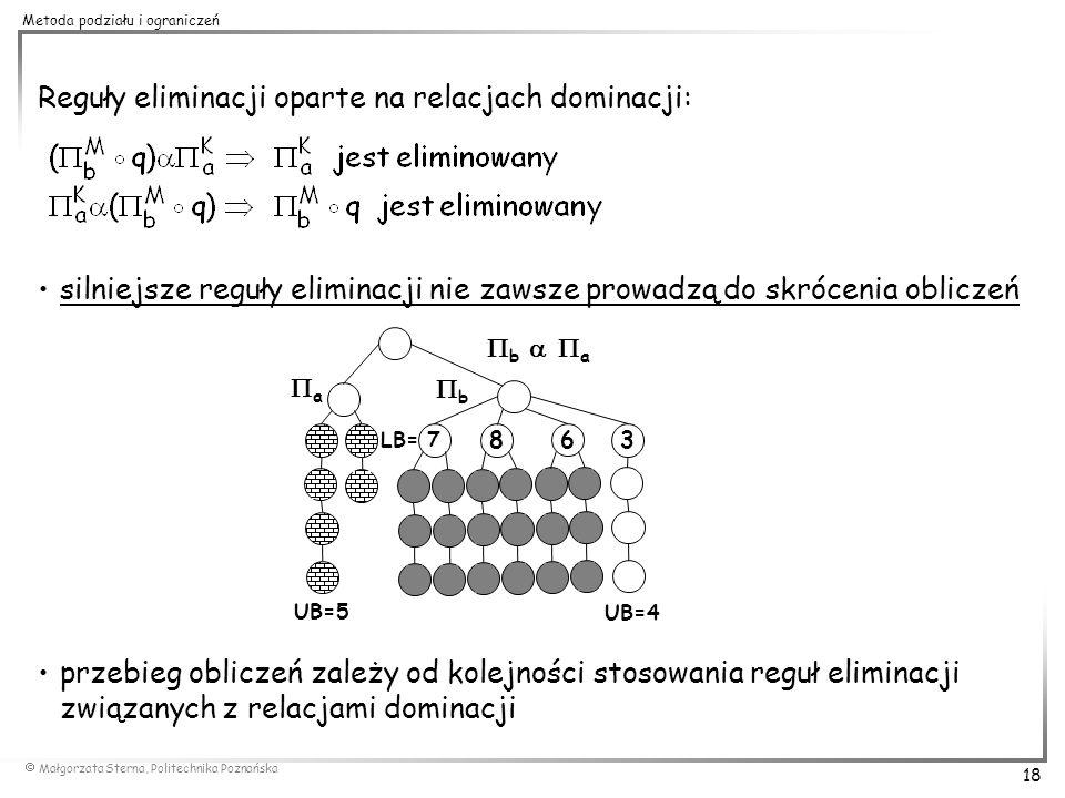 Reguły eliminacji oparte na relacjach dominacji: