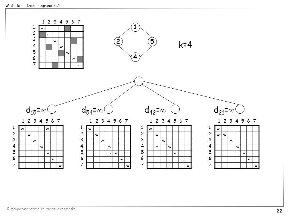 1 2. 3. 4. 5. 6. 7. 1. 2. 3. 4. 5. 6. 7. 1.  2. 5. k=4. 4. d15= d54= d42= d21=
