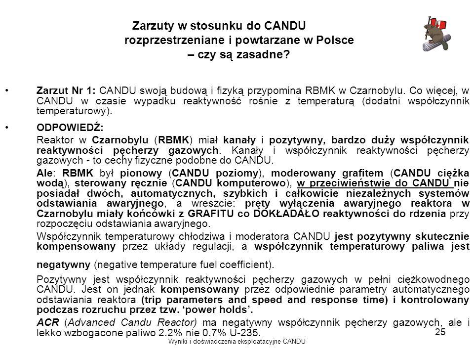 Wyniki i doświadczenia eksploatacyjne CANDU