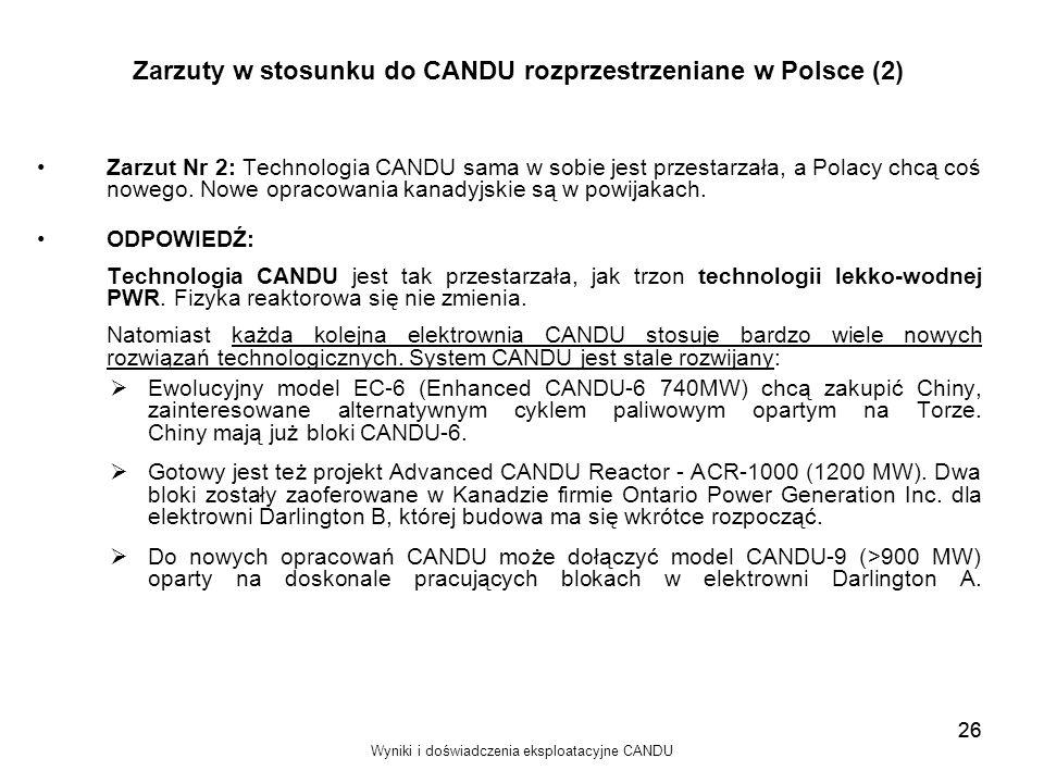 Zarzuty w stosunku do CANDU rozprzestrzeniane w Polsce (2)