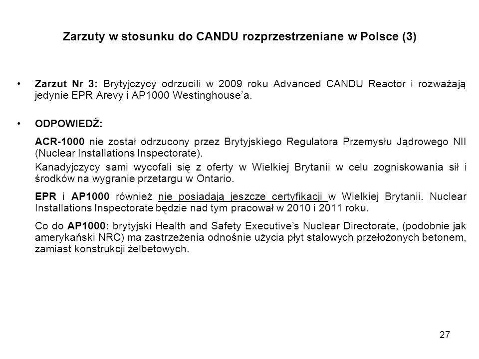 Zarzuty w stosunku do CANDU rozprzestrzeniane w Polsce (3)