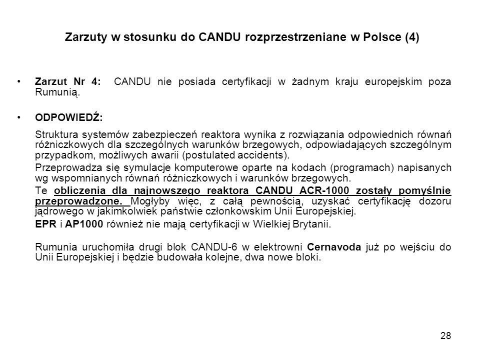 Zarzuty w stosunku do CANDU rozprzestrzeniane w Polsce (4)