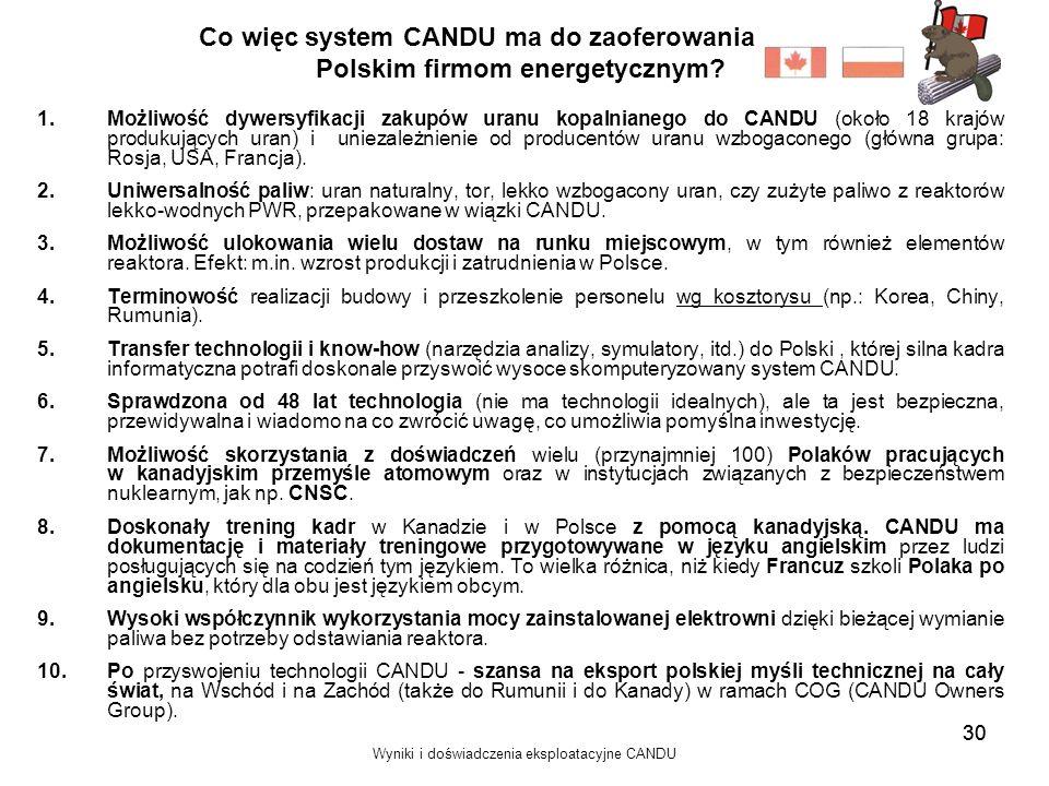 Co więc system CANDU ma do zaoferowania Polskim firmom energetycznym