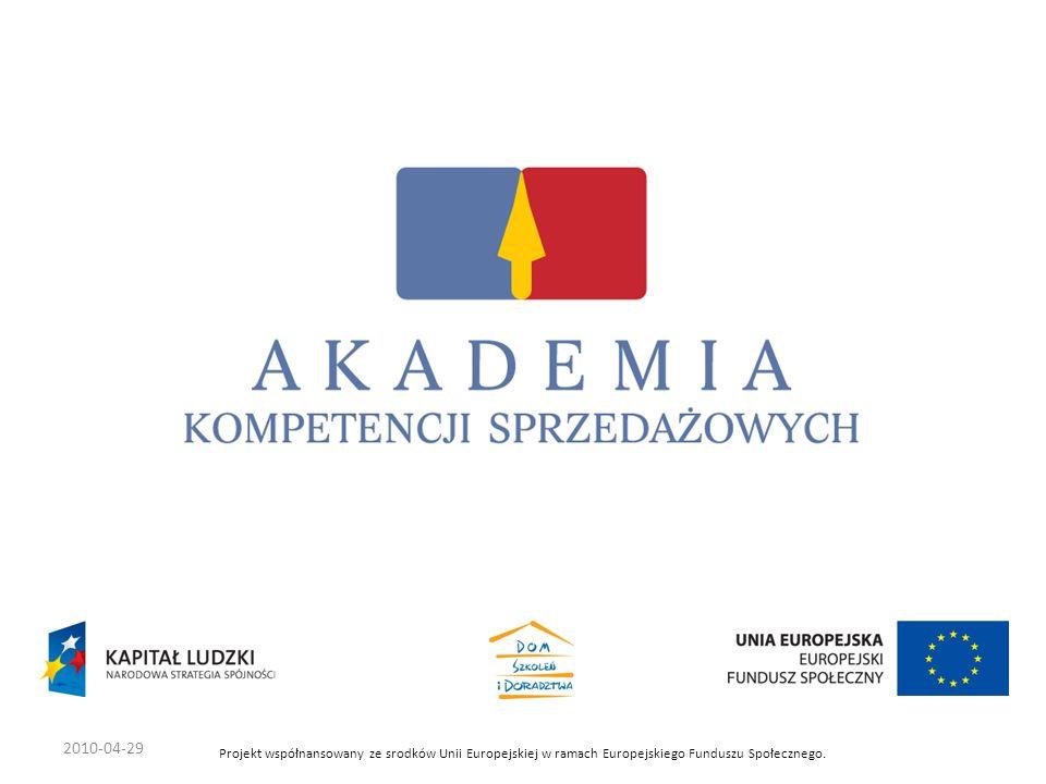 2010-04-29 Projekt współnansowany ze srodków Unii Europejskiej w ramach Europejskiego Funduszu Społecznego.