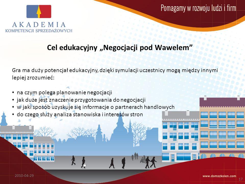 """Cel edukacyjny """"Negocjacji pod Wawelem"""