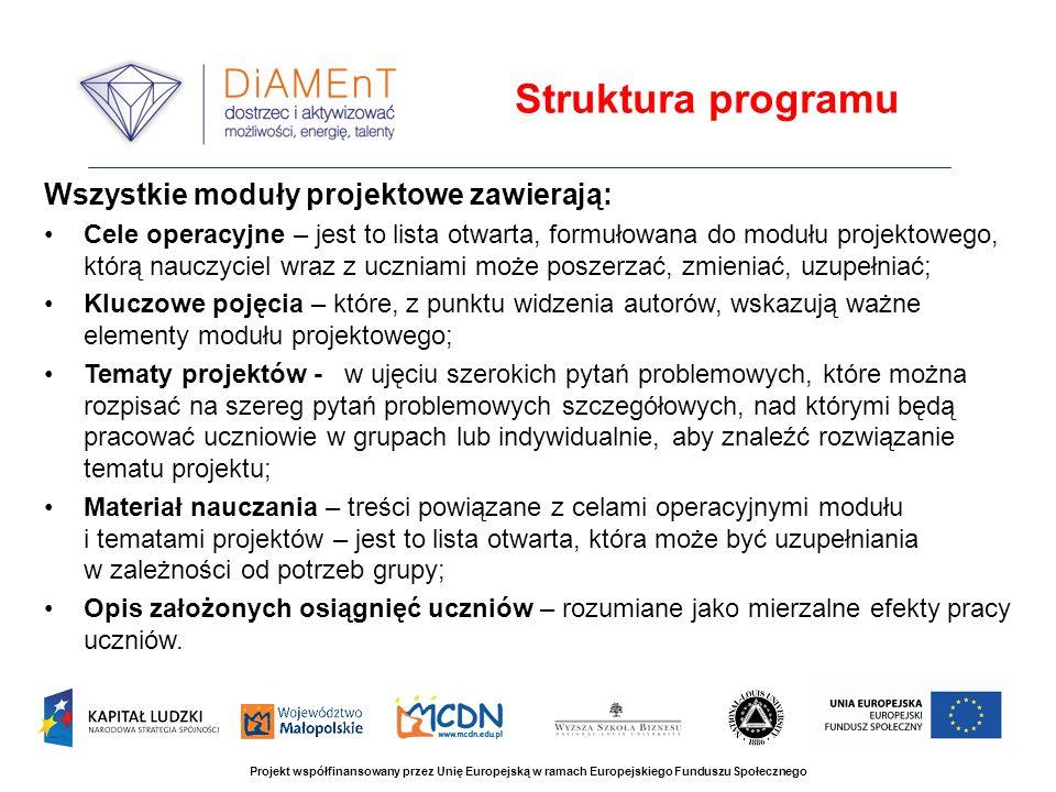 Struktura programu Wszystkie moduły projektowe zawierają: