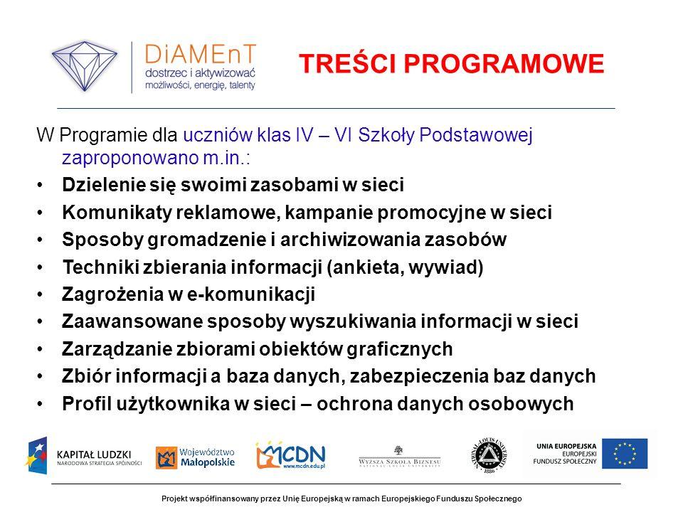 TREŚCI PROGRAMOWE W Programie dla uczniów klas IV – VI Szkoły Podstawowej zaproponowano m.in.: Dzielenie się swoimi zasobami w sieci.