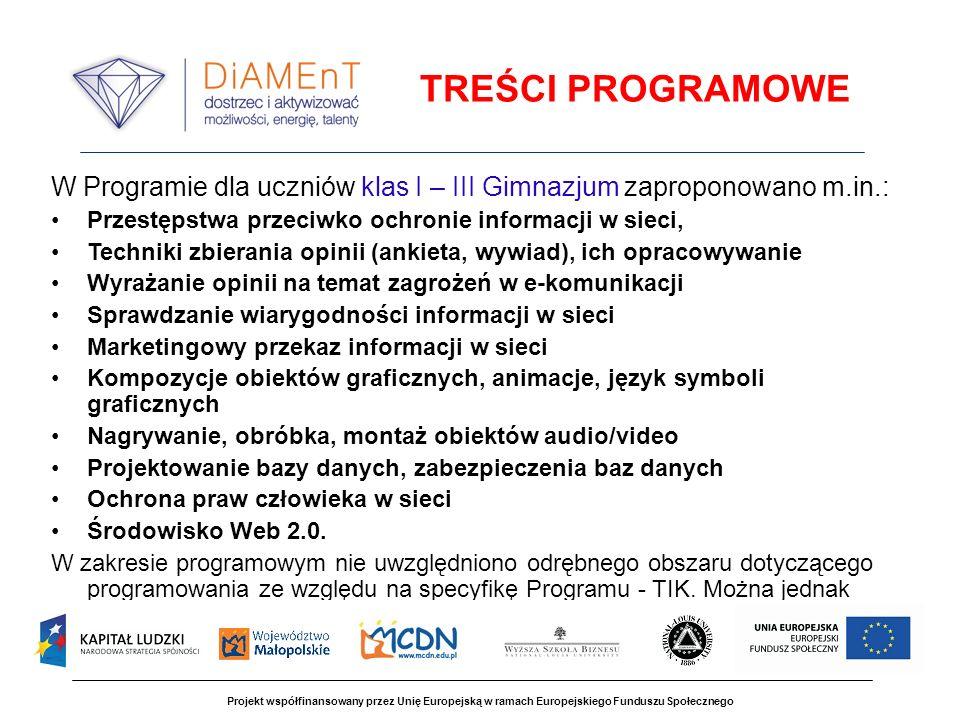 TREŚCI PROGRAMOWE W Programie dla uczniów klas I – III Gimnazjum zaproponowano m.in.: Przestępstwa przeciwko ochronie informacji w sieci,
