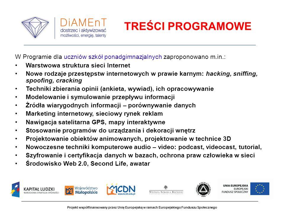 TREŚCI PROGRAMOWE W Programie dla uczniów szkół ponadgimnazjalnych zaproponowano m.in.: Warstwowa struktura sieci Internet.