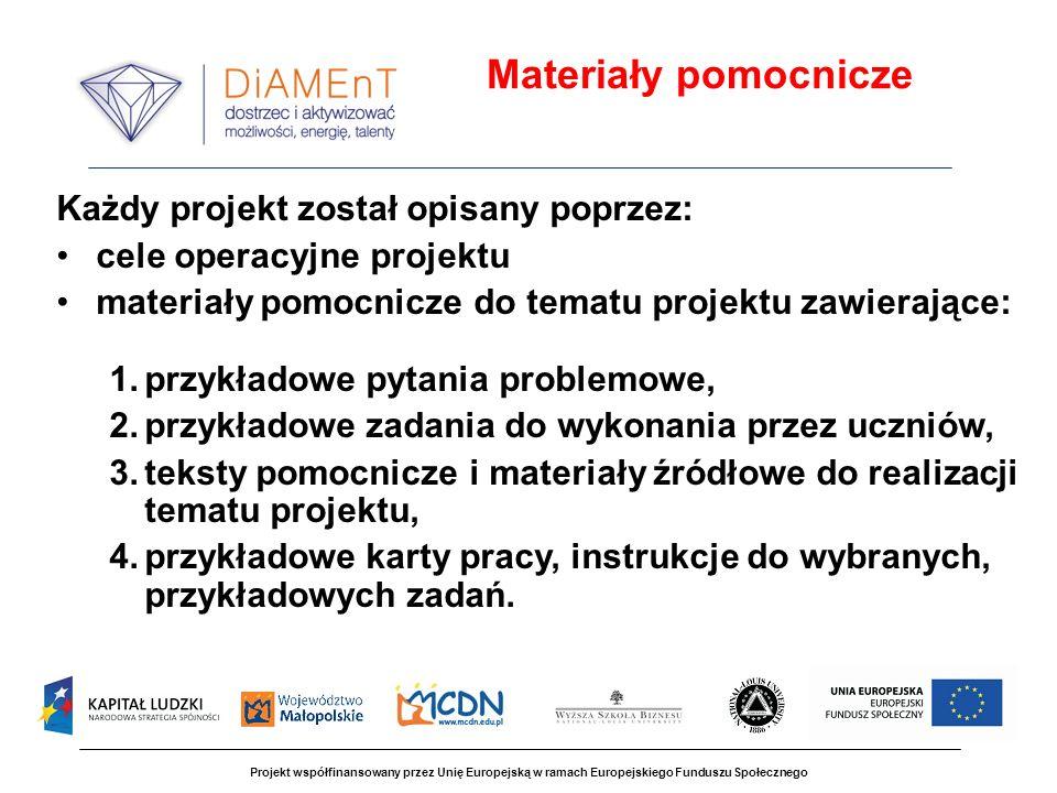 Materiały pomocnicze Każdy projekt został opisany poprzez: