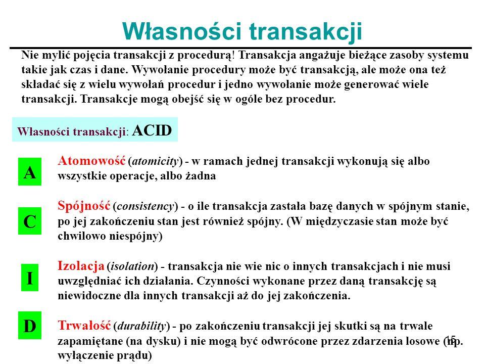 Własności transakcji A C I D
