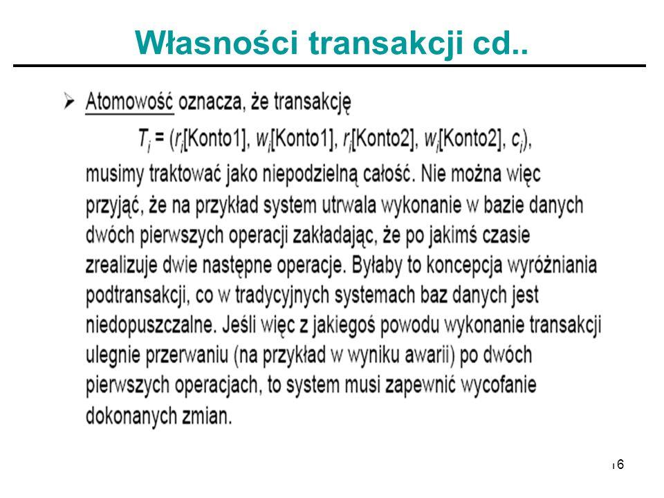 Własności transakcji cd..