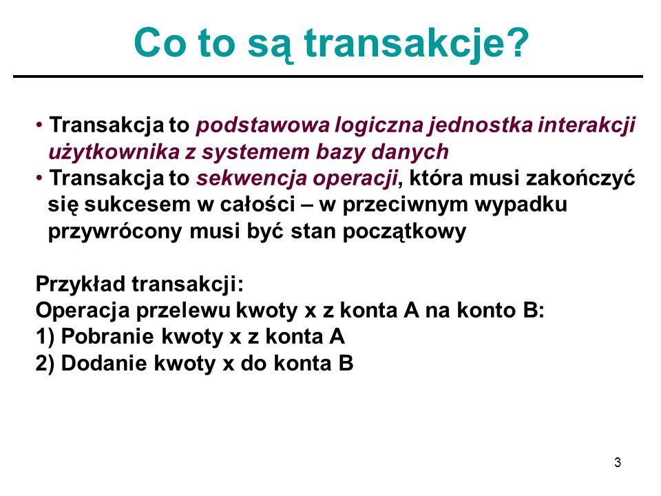 Co to są transakcje Transakcja to podstawowa logiczna jednostka interakcji. użytkownika z systemem bazy danych.