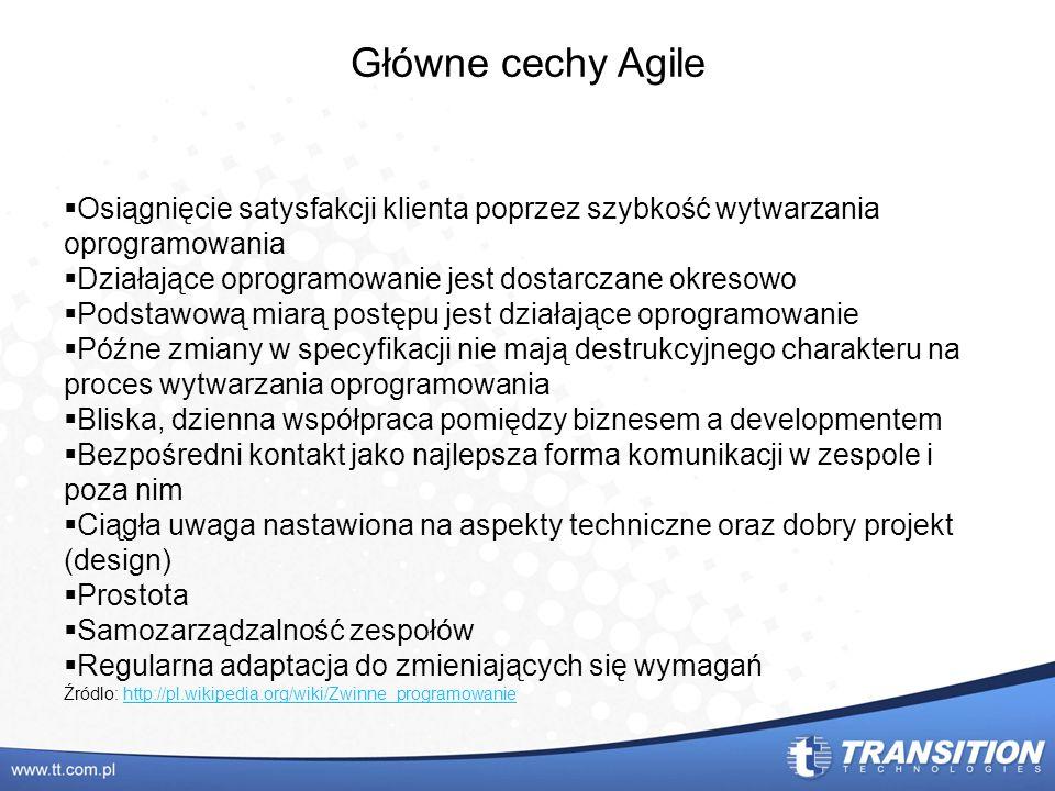 Główne cechy AgileOsiągnięcie satysfakcji klienta poprzez szybkość wytwarzania oprogramowania. Działające oprogramowanie jest dostarczane okresowo.