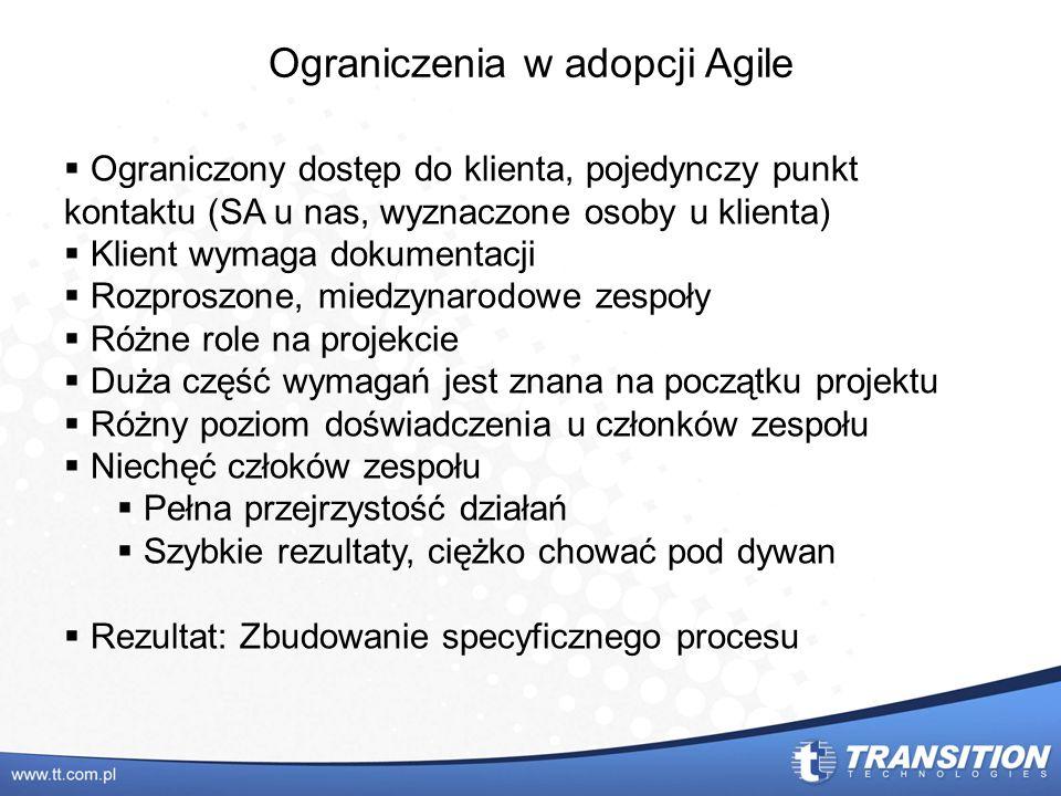 Ograniczenia w adopcji Agile