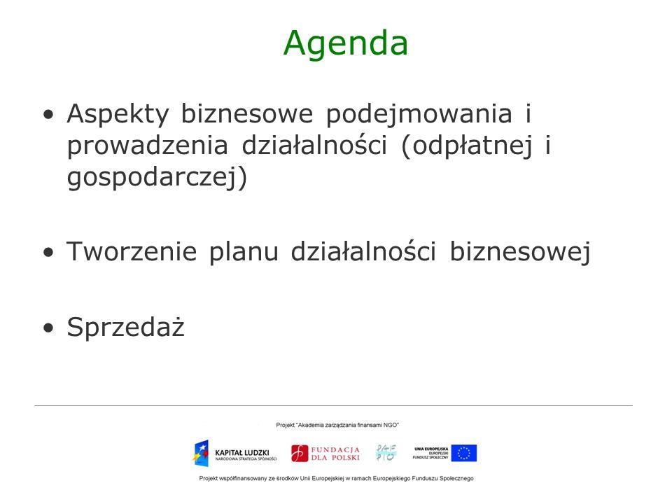 Agenda Aspekty biznesowe podejmowania i prowadzenia działalności (odpłatnej i gospodarczej) Tworzenie planu działalności biznesowej.