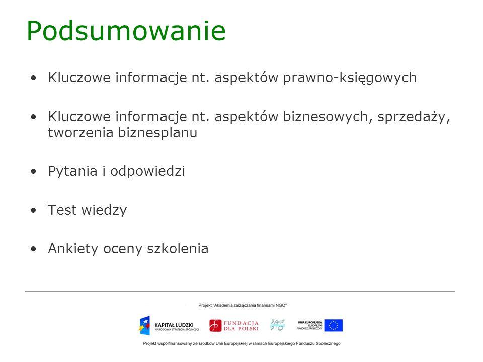 Podsumowanie Kluczowe informacje nt. aspektów prawno-księgowych