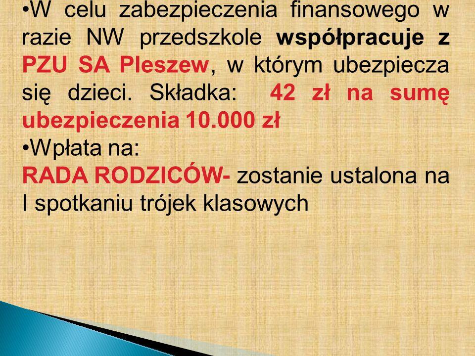 W celu zabezpieczenia finansowego w razie NW przedszkole współpracuje z PZU SA Pleszew, w którym ubezpiecza się dzieci. Składka: 42 zł na sumę ubezpieczenia 10.000 zł