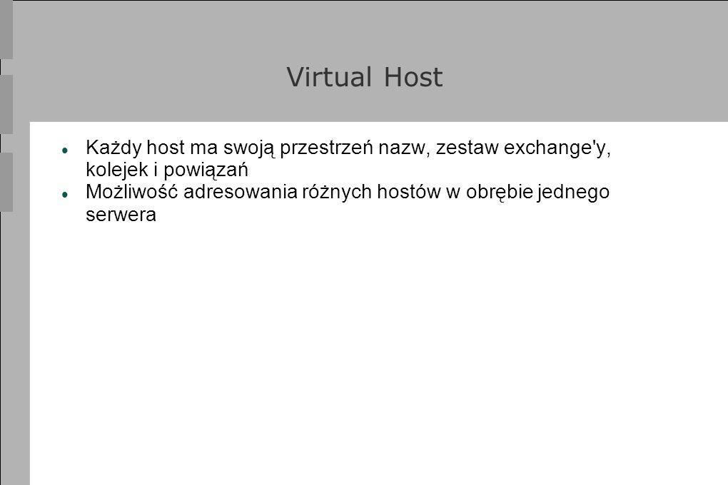 Virtual Host Każdy host ma swoją przestrzeń nazw, zestaw exchange y, kolejek i powiązań.