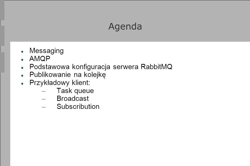 Agenda Messaging AMQP Podstawowa konfiguracja serwera RabbitMQ