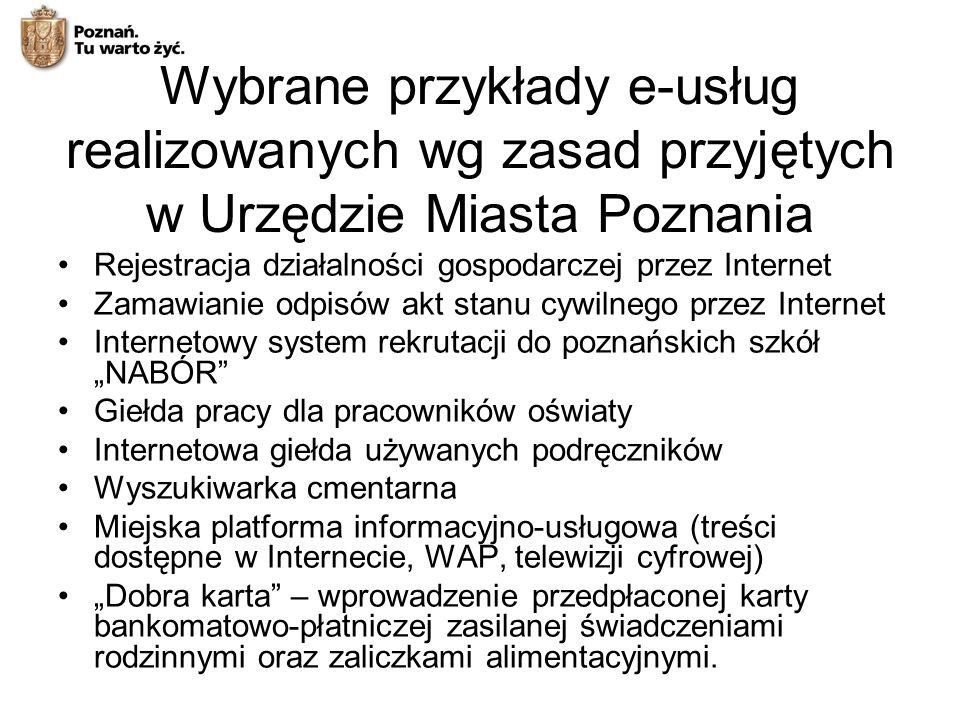 Wybrane przykłady e-usług realizowanych wg zasad przyjętych w Urzędzie Miasta Poznania