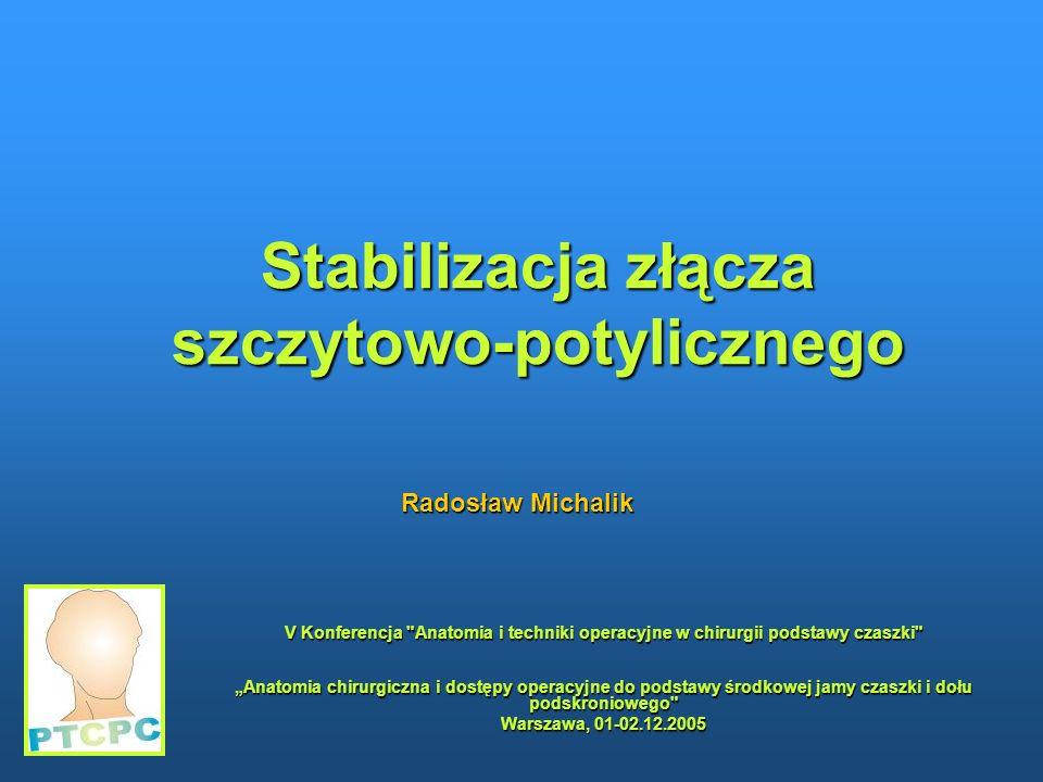 Stabilizacja złącza szczytowo-potylicznego