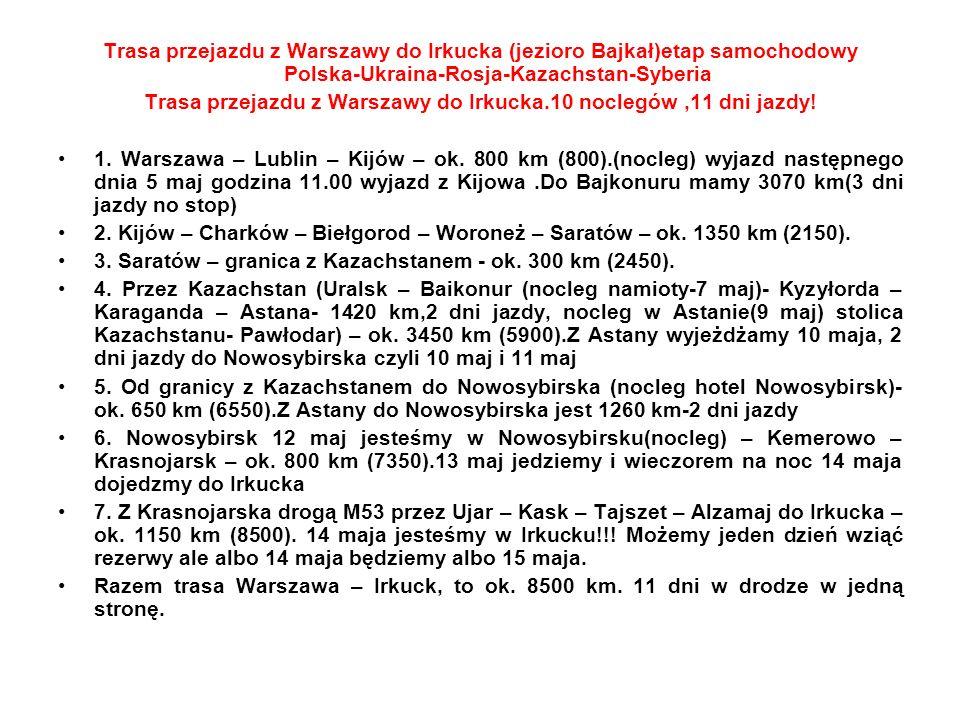 Trasa przejazdu z Warszawy do Irkucka.10 noclegów ,11 dni jazdy!