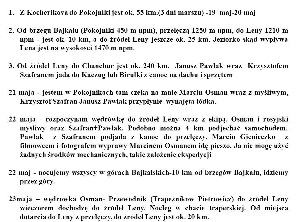 Z Kocherikova do Pokojniki jest ok. 55 km