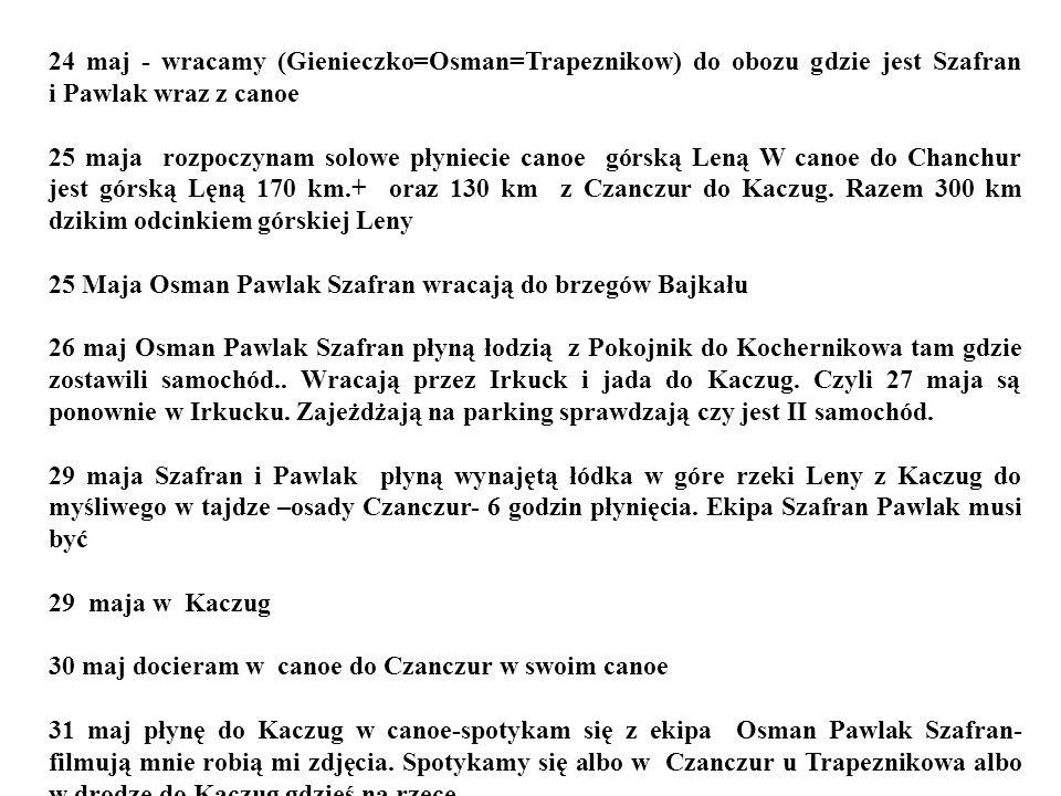 24 maj - wracamy (Gienieczko=Osman=Trapeznikow) do obozu gdzie jest Szafran i Pawlak wraz z canoe