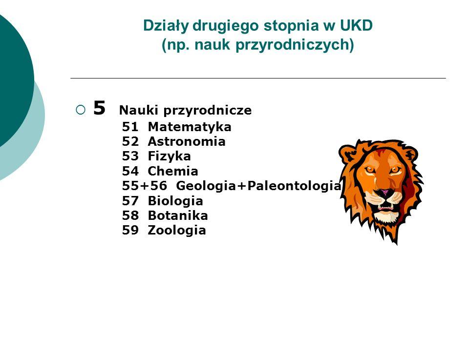 Działy drugiego stopnia w UKD (np. nauk przyrodniczych)