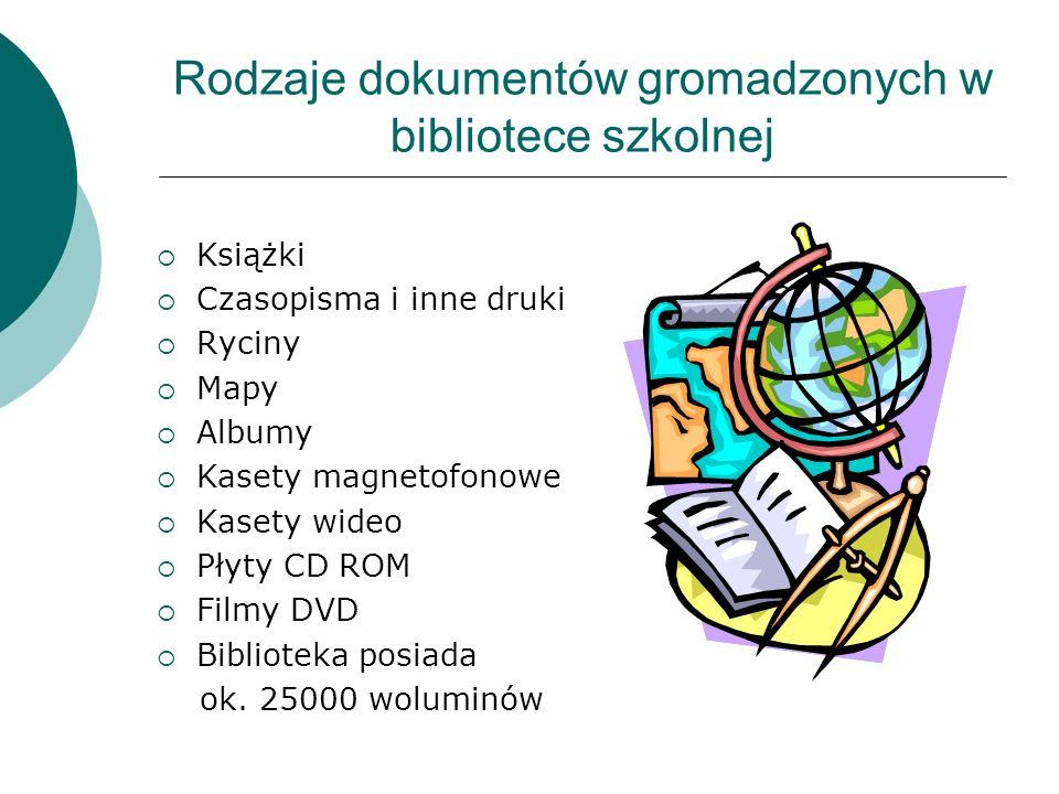 Rodzaje dokumentów gromadzonych w bibliotece szkolnej